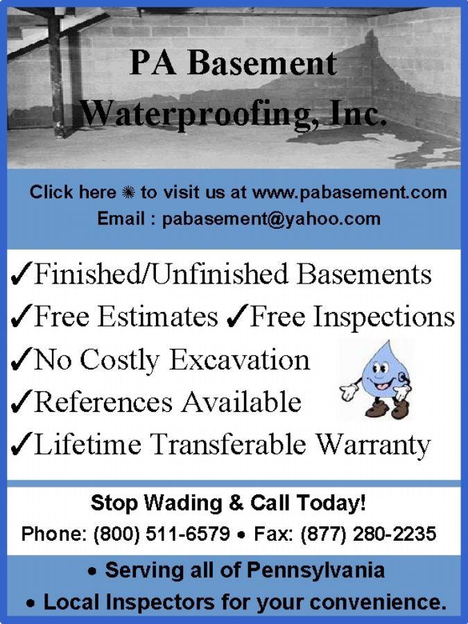 PA Basement Waterproofing